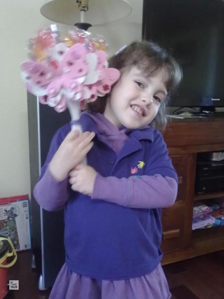 3 Year-old Little Miss I's lollipop butterflies