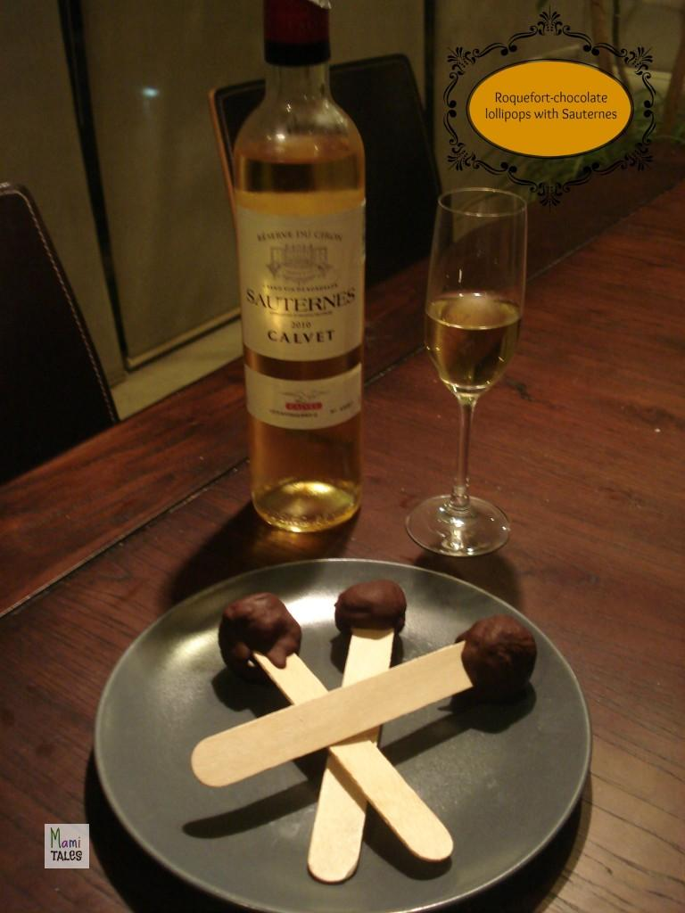 Roquefort-chocolate lollipops with Sauternes