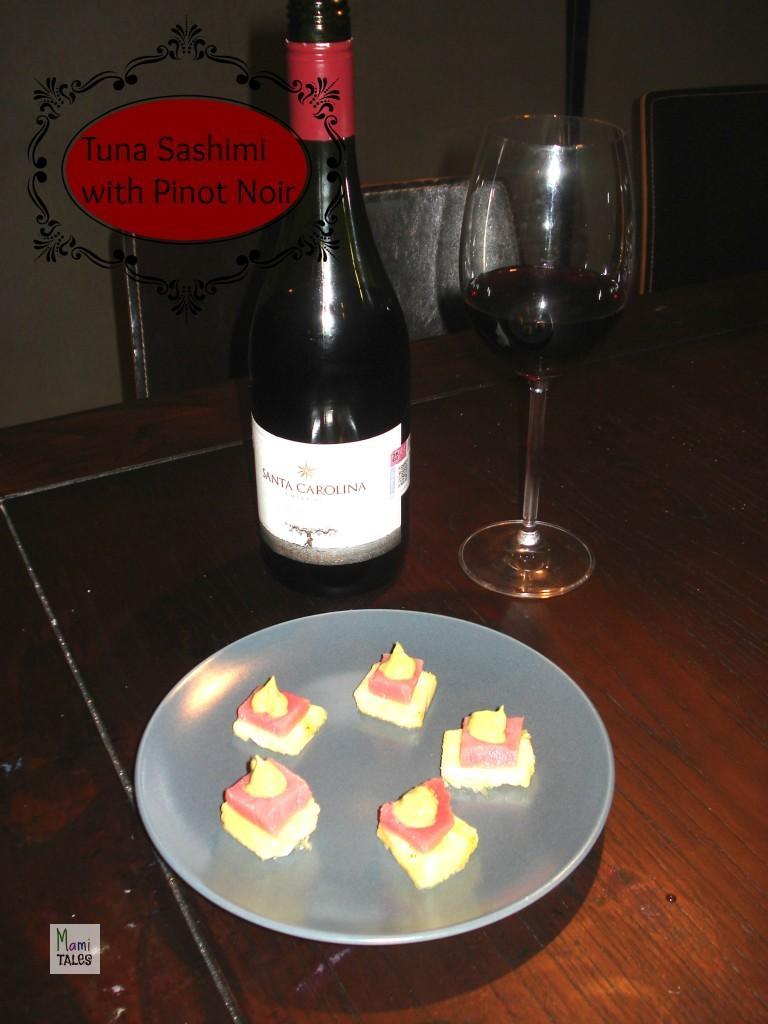 Tuna Sashimi with avocado-ginger cream with Pinot Noir